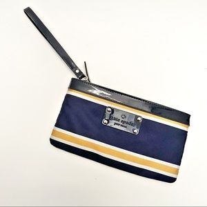 Kate spade navy and yellow striped wristlet